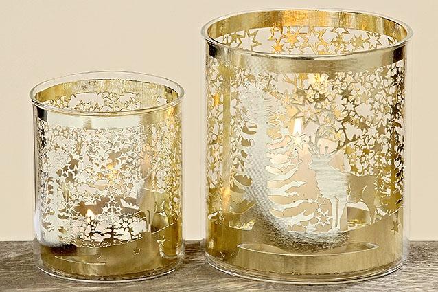 Windlicht Windlichthalter Deko Weihnachten Slaja Metall Glas Gold