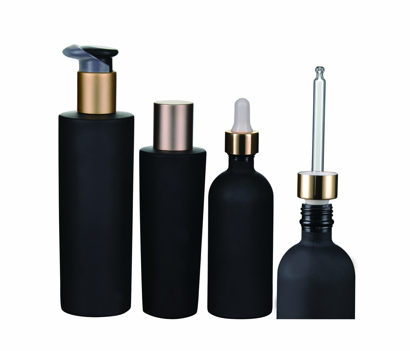 Dark violet glass bottle with pump/dropper