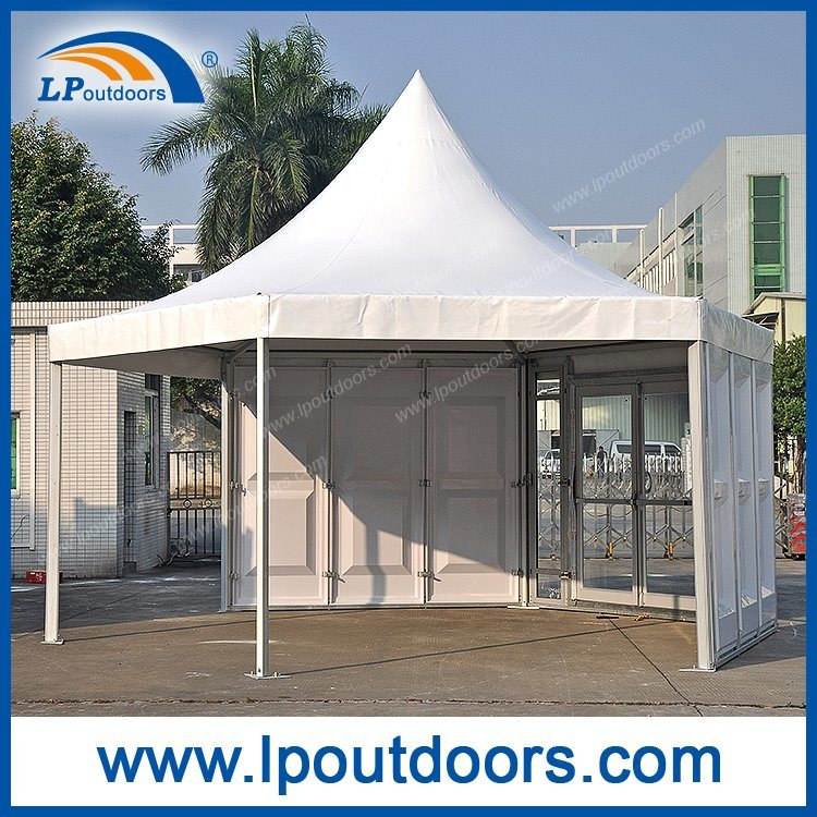 Dia 6m Outdoor Polygon Hexagon Pagoda Tent With ABS Wall