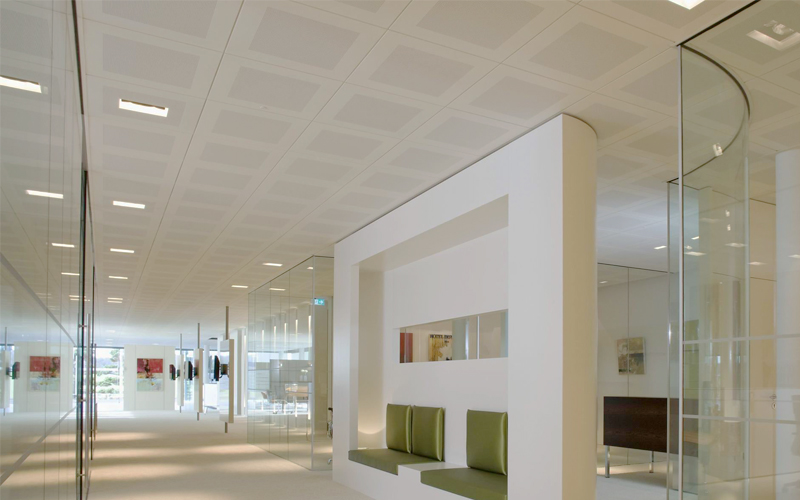 Can an indoor office be decorated with aluminum ceiling?