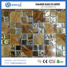 kitchen and wall gold color crystal glass mosaic