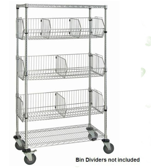 Heavy duty NSF 5 tier chrome wire basket shelving rack with wheels ...