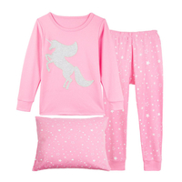 "Girls Pajamas ""Horse"" 2 Piece Kids Pjs Set Clothes"