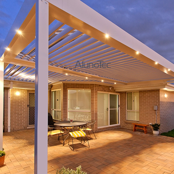 Motor aluminum patio roof pergola with side screen buy for Screen porch roof options