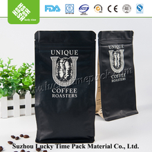 Square Bottom Zipper Coffee Packaging Bag with Valve