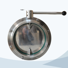 Sanitary big size pull handle welded butterfly valve