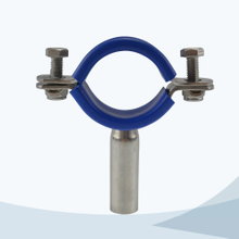 Sanitary round pipe support with blue sleeve