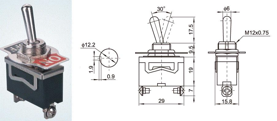 KN3(C)-101 2 POLE ON-OFF toggle switch