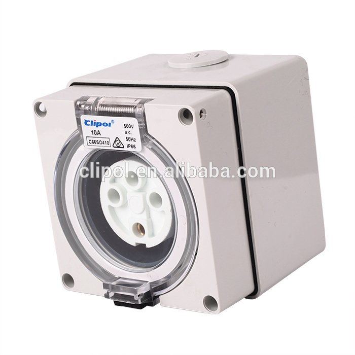 Power outlet socket Industrial polycarbonate IP66 4 pin 10 amp ...
