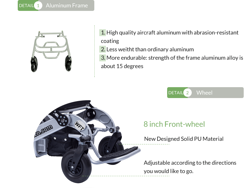 5 Wofftown folding electric wheelchair wheel