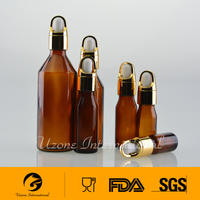 European amber glass bottle with dropper