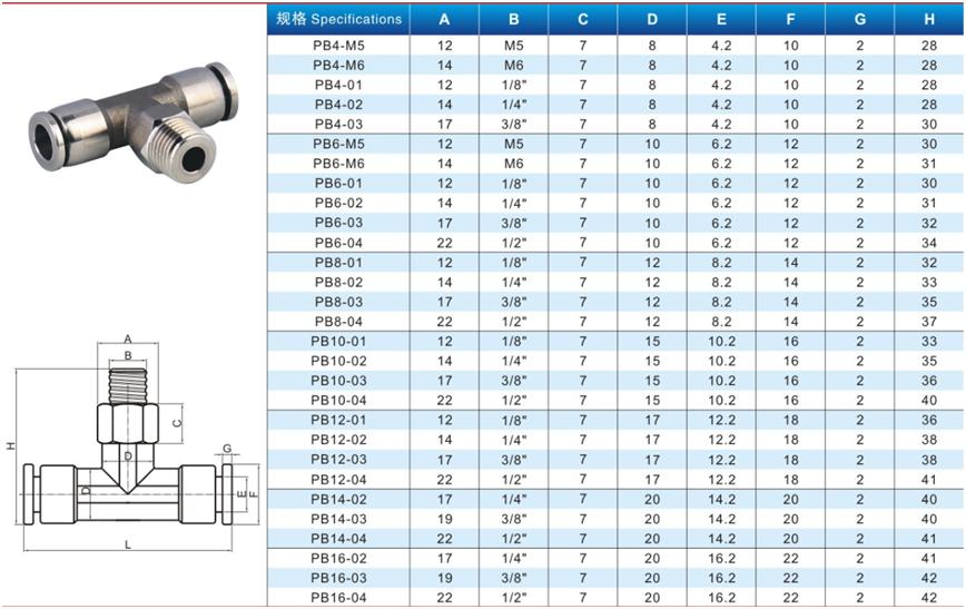 Stainless Steel Tee male pneumatic connector