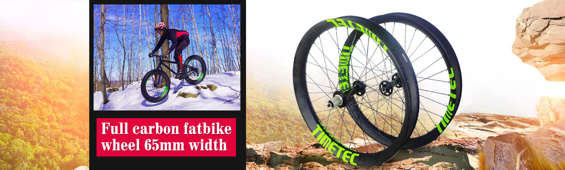 26er Fat Bike Carbon Fiber Rims Wheels 65mm