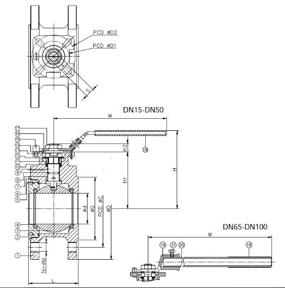 Wafer Ball Valve with ISO 5211 Mounting Pad