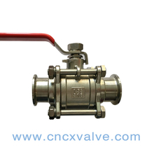 Sanitary 3PC body clamped ball valve