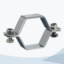 Sanitary pipe fitting hex pipe support without pipe