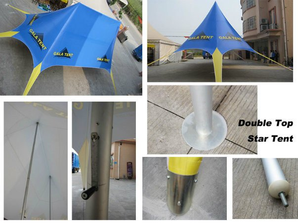 12X17m Outdoor Double Pole Beach Star Shade Tent for Party