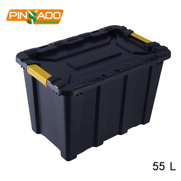 55l Pinyaoo Black Heavy Duty Plastic Garden Storage Box With Lid