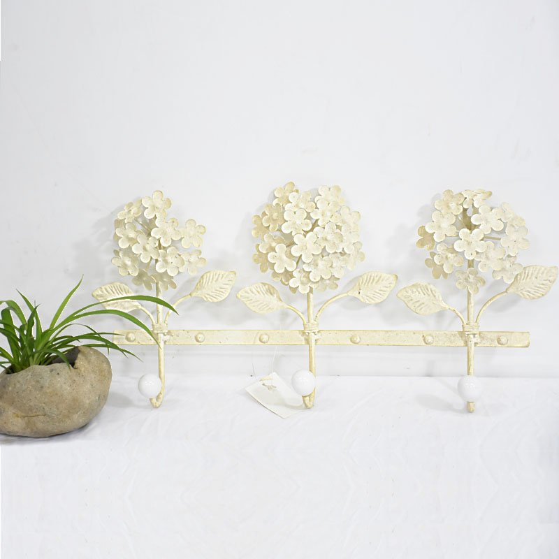 vintage Cream metal flower wall Mount Coat Rack - Buy wall Mount ...