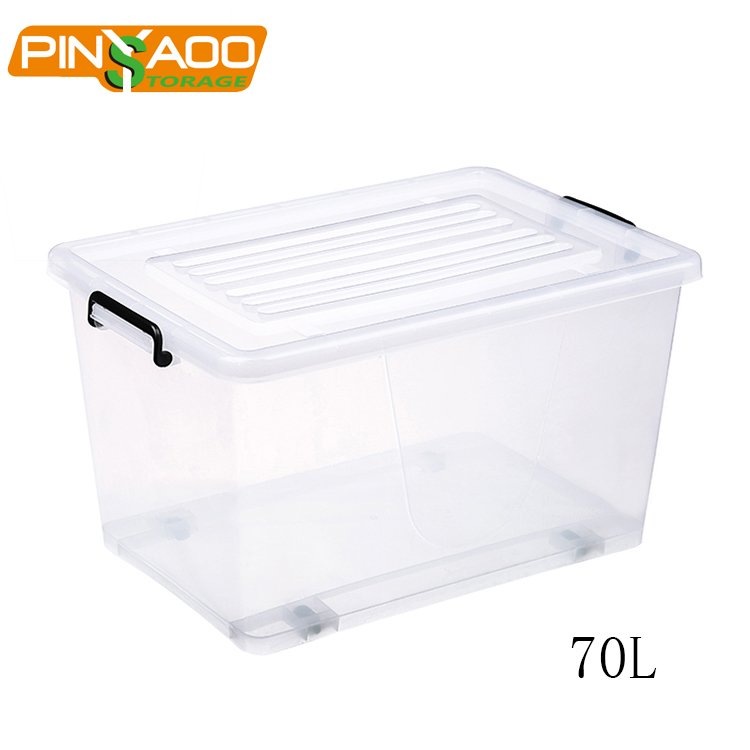 70L Eco Friendly New Design Widely Use Large Clear Plastic Storage Box With  Lid