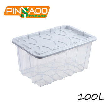 100l Large Capacity Outdoor Plastic Storage Tote Box With Lid