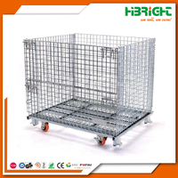 Wire Mesh Foldable Roll Off Forklift Pallet Cage