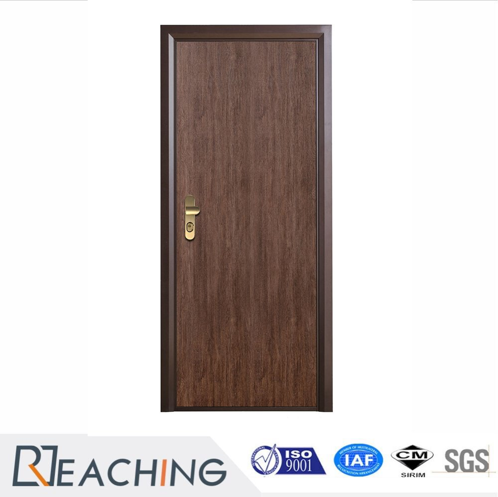 Interior Wooden Door Vinyl Finish Wood Grain Surface With Frame From